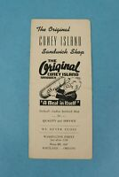 VINTAGE 1940s ORIGINAL CONEY ISLAND RESTAURANT SANDWICH SHOP MENU PORTLAND, OR.