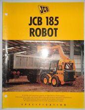Jcb 185 Robot Skid Steer Loader Sales Brochure Literature Specifications Ad