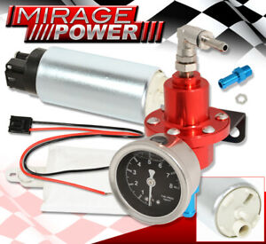 Adjustable Aluminum Fuel Pressure Regulator 0-140Psi Red Race Gauge +255Lph Pump