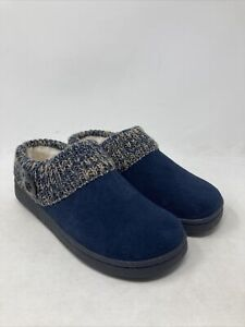 Clarks Women's Knit Collar Sweater Clog Slippers Navy Leather