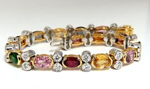 14.35ct Natural Spinel, Ruby, Sapphire, Green Garnet diamonds bracelet Gemline