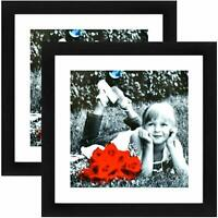 11x11 Black WoodPicture Frame (2-Pack) - HIGH DEFINITION FRONT GLASS - 8x8 Mat
