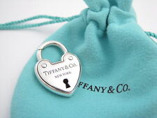 Tiffany & Co Silver Arc Padlock Lock Heart Charm Pendant 4 Necklace Or Bracelet!