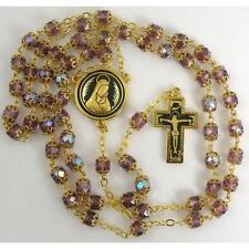 Damascene Gold Rosary Crucifix Virgin Mary Purple Beads by Midas of Toledo 8600