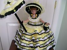 "HANDMADE CROCHET SOUTHERN BELLE 18"" KITTY COLLIER DOLL ON STAND"
