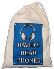 PERSONALISED - Head Phones Drawstring Storage Bag - DJ / Music - BLUE -earphones