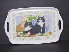 Retro Melamine CLOVERLEAF England Serving Tray Anne Mortimer Cats Shabby Chic