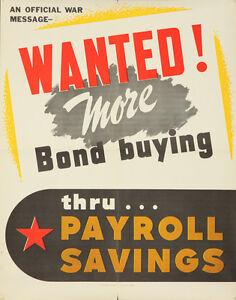 Original Vintage Poster World War II WWII USA Bond Buying Payroll 1943 American