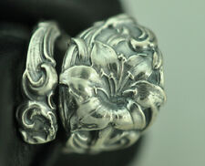Beautiful 925 Sterling Silver Big Lily Flower Spoon Ring