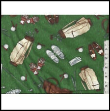 Timeless Treasures GOLF STUFF  Fabric BALLS TEES BAGS 100% Quilt Cotton NEW RARE