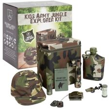 BOYS ARMY JUNGLE EXPLORER KIT CAMO BAG WATERBOTTLE WHISTLE TORCH NOTEPAD KIDS