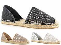 Women's Ladies Netted Summer Flat Espadrilles Beach Slip On Shoes Sandals UK3-8