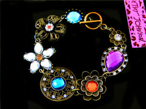 Women Fashion Betsey Johnson Vintage bronze crystal Jewelry Charm Bracelet