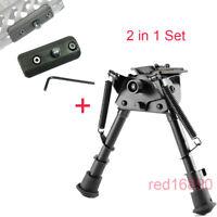 "6""-9"" Harris Style Rotatable bipod +keymod sling stud adapter for Rifle Hunting"