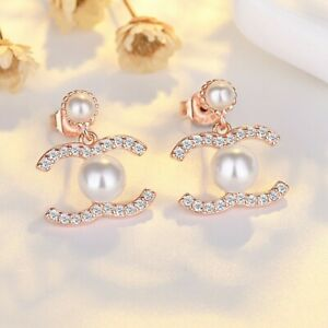 NEW Rose Gold Crystal Pearl Dangle Drop Luxury Classic S925 Silver Earring