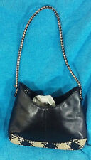 Leather Etienne Aigner Purse Shoulder Bag Black & White Woven Strap