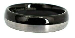 Tungsten Carbide Wedding Engagement Ring Men's Women's  Black Silver Band 6mm