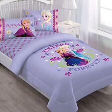 3 Pieces Disney Frozen Anna + Elsa Purple Twin Bedding Comforter and Sheet Set