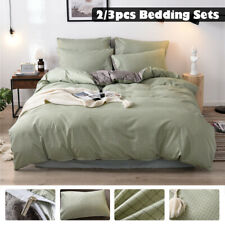 Luxury Duvet Quilt Cover With Pillowcases Bedding Set Single Double King Green
