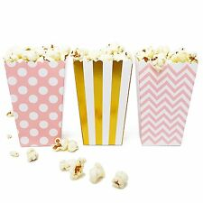 36 Pink Gold Polka Dot Stripe Chevron Mini Popcorn Boxes Candy Party Favor Boxes