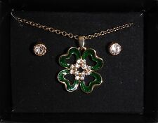 Green Enamel Four Leaf Clover Necklace and Sparkling Stud Earring Set  NIB