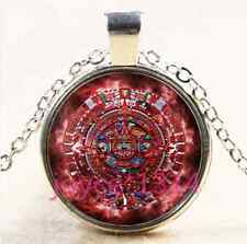 Aztec calendar Cabochon Tibetan silver Glass Chain Pendant Necklace #4029