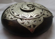 VINTAGE NEPAL / TIBET WOOD AND METAL DECORATIVE ROUND BOX