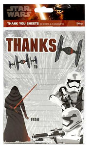 Disney STAR WARS THANK YOU Sheets 20 Pack includes Envelopes Boys Party Birthday