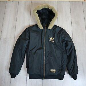 Adidas Chile 62 Puffer Jacket Fur Hood Black Size Smalll