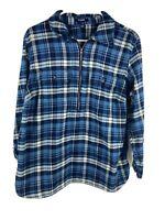 Chaps by Ralph Lauren Sz.1X Blue Plaid Long Sleeve Half-Zip Shirt
