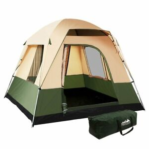 NEW - Weisshorn Family Camping Tent 4 Person Tents Canvas Green - FREE POSTAGE