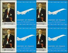 102 x 4 Yemen 1969 History of France De Gaulle Concorde Mi.Bl.115 52 Eur. MNH**