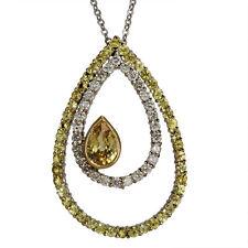 Diamond Necklace Sapphire Necklace Yellow Sapphire Tear Drop Sapphire 14k Gold