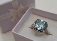 Victoria Townsend LARGE Blue Topaz & Diamond 925 Sterling  Silver Ring - Size 7