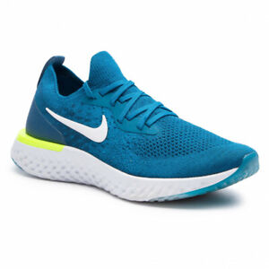 NEW Nike Epic React Flyknit AQ0067-302 Men's Size 10.5 Green Abyss/White-Blue