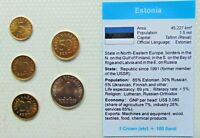 1990,s ESTONIA, Set of 5 GEM UNCIRCULATED COINS in a see through container.