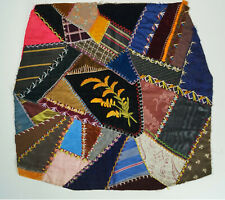 ANTIQUE CRAZY QUILT PATTERN  CHAIR SEAT COVER