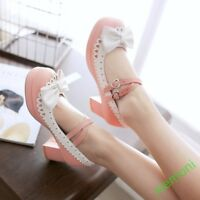 Women's Bowknot Lolita Ankle Strap Low Block Heel Mary Jane Pump Shoes Tea Party