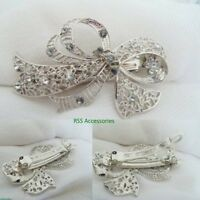 Bow Flower Silver Antique Crystal Barrette Bridal Clip Filigree Diamante Hair