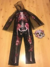Girls Halloween Skeleton Costume Dressing Up Outfit Age 9-10