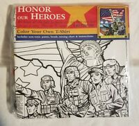 """""""Honor Our Heroes"""" Color Your Own T-Shirt Size Adult X-Large New in Package"""