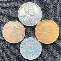 Nazi 4 Coin Lot US Emergency Issued Steel Penny VS Third Reich Zinc 1 Pfennig