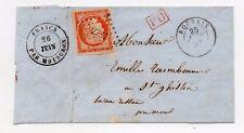 !!! N°5 PC 2737 ROUBAIX / LETTRE DE 1852 POUR ST GHISLAIN, MARQUE D'ENTREE
