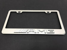 "1pc 3D ""AMG"" Stainless Steel Chrome Metal License Plate Frame Holder #1"