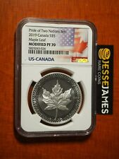 2019 1 oz Silver Eagle /& Maple Pride Two Nations NGC PF70 FR Black Excl SKU59047
