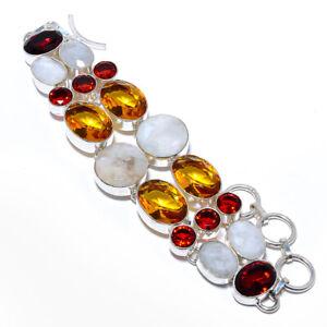 "Madagascar Rainbow Moonstone & Blue Sapphire 925 Silver Bracelet 7-8"" S1935"