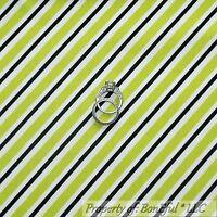 BonEful FABRIC FQ Cotton Quilt White Black Green Lime B&W STRIPE Small Xmas Sale