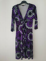 Ladies PHASE EIGHT Shift Midi Dress Size 14 Purple Floral Stretch Long Sleeve