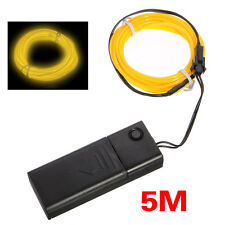 5M Yellow Flash Flexible Neon Light Glow El Strip Tube Wire Rope+Battery Case