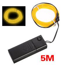 5M Yellow Flash Flexible Neon Light Glow El Strip Tube Wire Rope+Battery Case